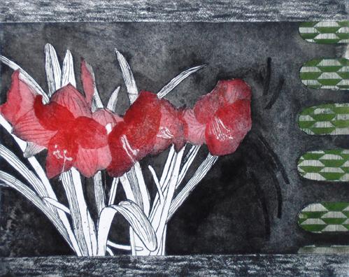 Amaryllis – Red/Black Background/Light Green Ovals