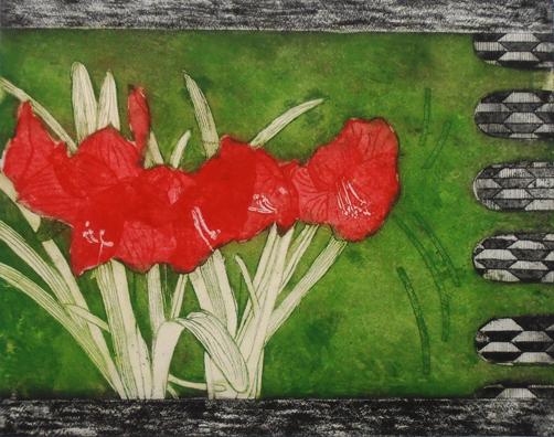 Amaryllis – Red/Green Background/Black