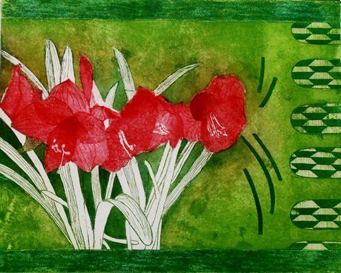 24.Amaryllis – Red/Light Green Background